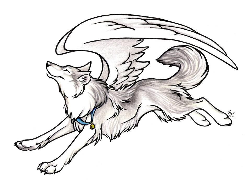 Loup ailee - Dessin de coeur avec des ailes ...